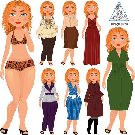 pera: estilo de la manera recomendada para el tipo de triángulo de la figura de la mujer, vector dibujado a mano ilustración, parte de la colección