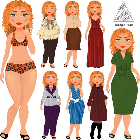 body shape: Recommended fashion style for triangle type of woman figure, vector hand drawn illustration, part of collection