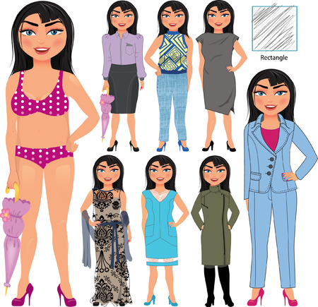 Recommended fashion styles for rectangle type of woman figure, vector hand drawn illustration, part of collection Imagens - 43686776