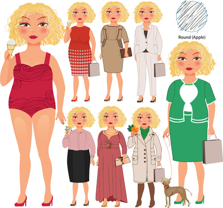 Recommended fashion style for round type of woman figure, vector hand drawn illustration, part of collection Imagens - 43686775