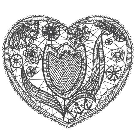 Geweven vorm van hart met kant tulp en decoratieve bloemen