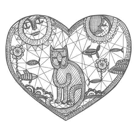 character abstract: Woven shape of  heart with lace cat and elements Illustration
