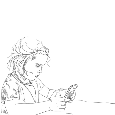 Drawing illustration of little five-years old girl holding and playing smart phone