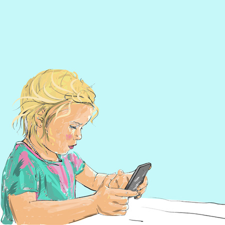 telephone cartoon: Drawing illustration of little five-years old girl holding and playing smart phone