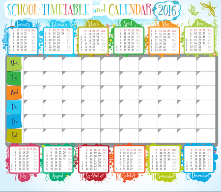 classes schedule: 2016 calendar and School timetable for students or pupils Illustration