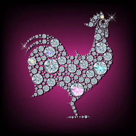 chinese zodiac: Diamond rooster- symbol of new 2017 Year