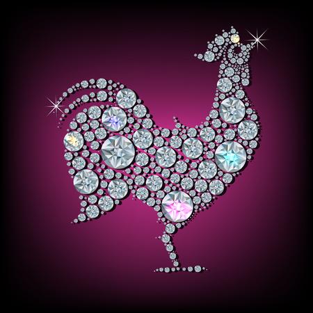 Diamond rooster- symbool van het nieuwe jaar 2017