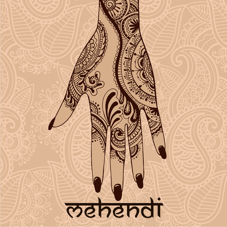 tattoo girl: Illustration with mehendi drawing on woman`s hand