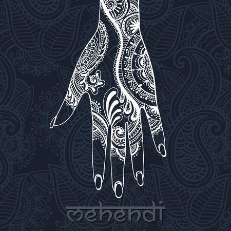 mehendi: Illustration with mehendi drawing on woman`s hand