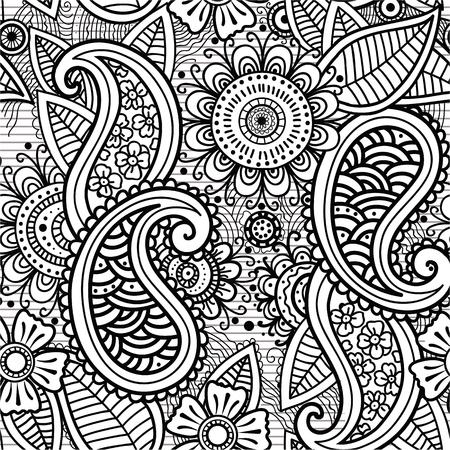 mendi: Seamless Illusrtation mehendi drawing