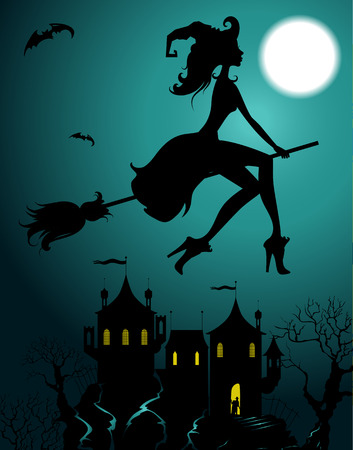 witch on broom: Background with flying beautiful sexy witch silhouette