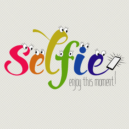 biff: Selfie hand drawn funny decorative lettering