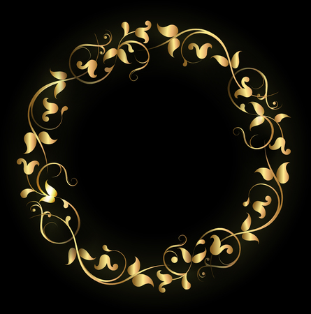 golden frame: Floral round filigree golden frame Illustration