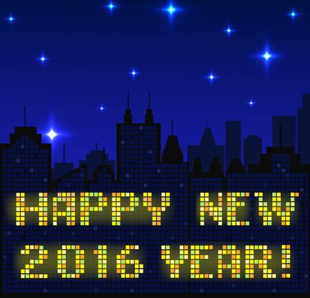 megapolis: Megapolis silhouette background with Happy New year wishes, made with shiny windows