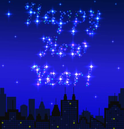 megapolis: Megapolis silhouette background with Happy New year wishes, made with shiny stars