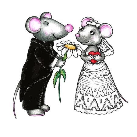 Nette Mäuse in der Liebe Vektorgrafik