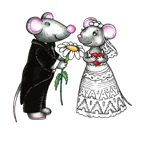 Cute mouses in love