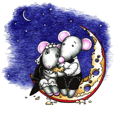 lovely couple: Cute mouses in love, sitting on the moon Illustration