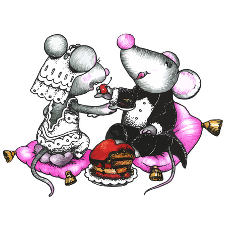 cartoon smile: Cute mouses in love