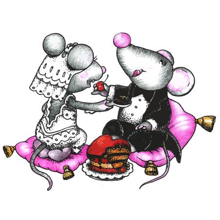 donna innamorata: mouse carino in amore Vettoriali
