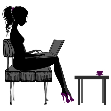 girl laptop: Silhouette of beautiful girl with laptop