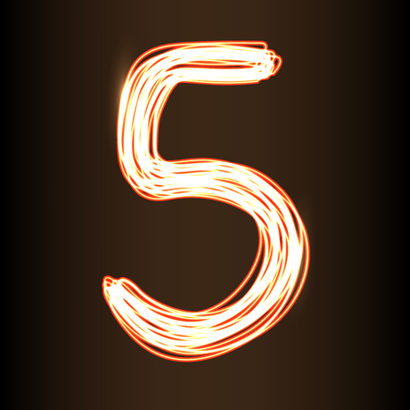 scaly: Fire show style number Five, vector illustration, part of collection letters and numbers