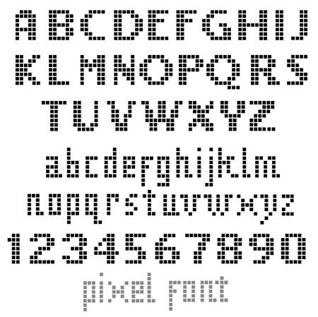 retro computer: Pixel font, set of letters
