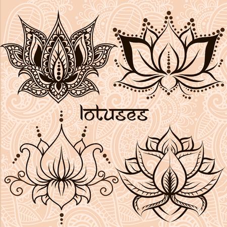 flower patterns: Conjunto de ilustraci�n lotos decorativos Vectores