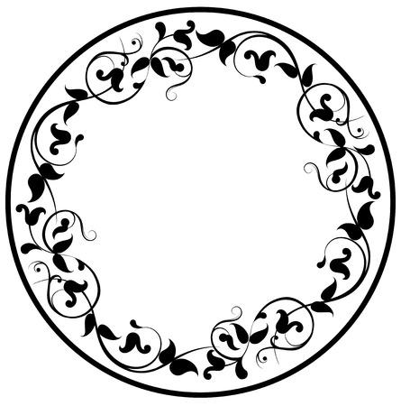 Floral round filigree frame