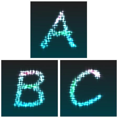 stardust: Stardust glowfont, letters A, B, C