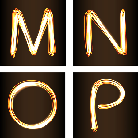 show case: Fire-show style set of letters M, N, O and P, vector illustration. Part of collection letters and numbers  in this style