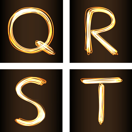 fire shows: Fire-show style set of letters Q, R, S, and T, vector illustration. Part of collection letters and numbers  in this style Illustration