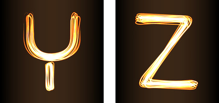 show case: Fire-show style set of letters U, V, W and Xvector illustration. Part of collection letters and numbers  in this style