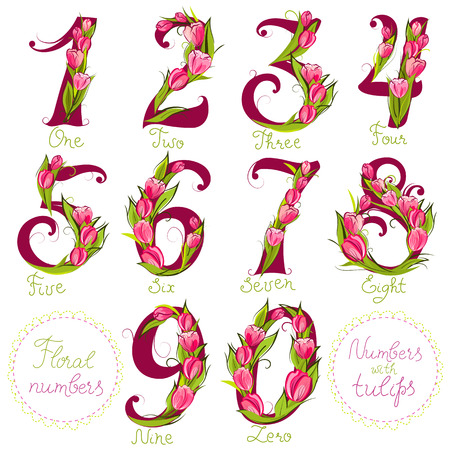 number card: Set of cute decorative numbers, made with tulips, vector illustration
