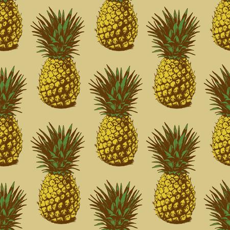 Naadloze achtergrond met met de hand getrokken ananas