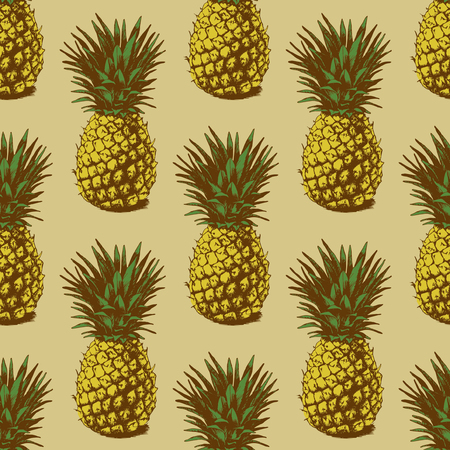 Seamless background with hand drawn pineapples Illustration