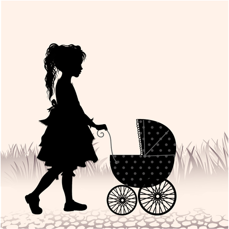 Retro ilustración con la silueta niña caminando con el cochecito de juguete- Ilustración de vector