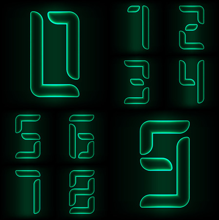 web 2 0: Set of neon glass numbers from zero to nine