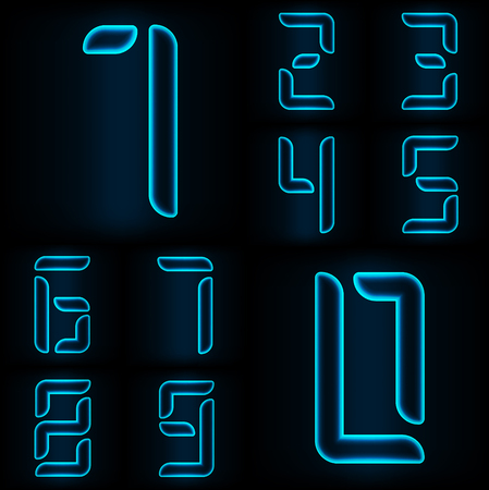 web 2 0: Set of neon blue glass numbers from zero to nine