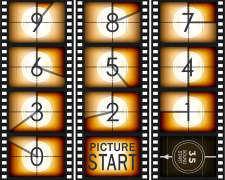 35mm film motion picture camera: Set of numbers from old mowie count down ( from nine to zero)