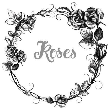 eleganz: Zeichnung von runden Rahmen mit Rosen