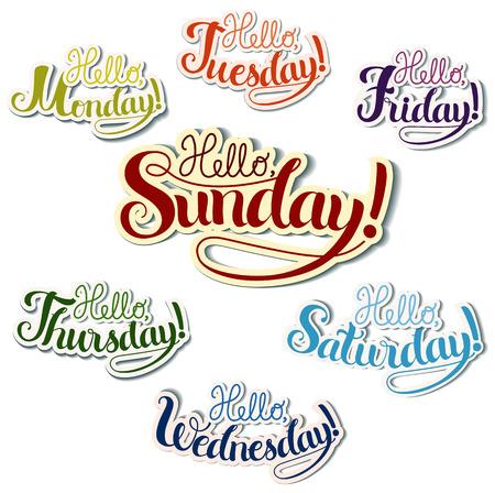 days: Set of positive lettering week days