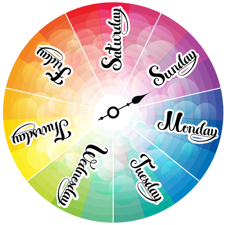 days of the week: Week days rainbow colored clock