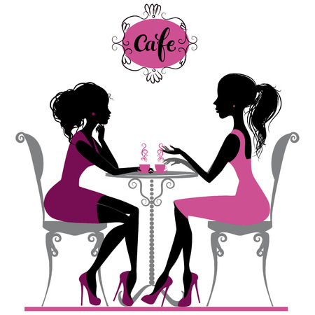 Illustration of two girls talking in cafe
