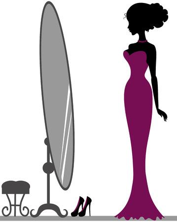 Silhouet van mooi meisje in de buurt van spiegel Stock Illustratie