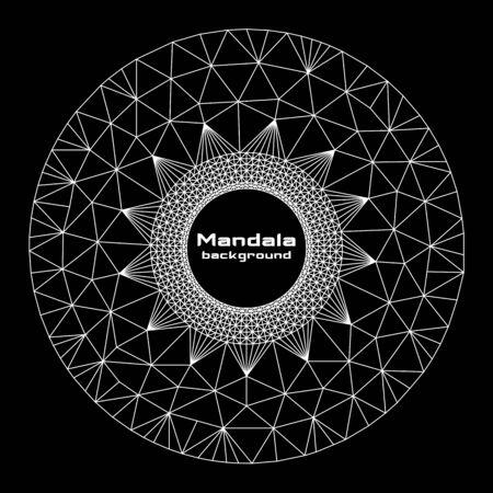 Abstract geometric round form mandala, white on black background