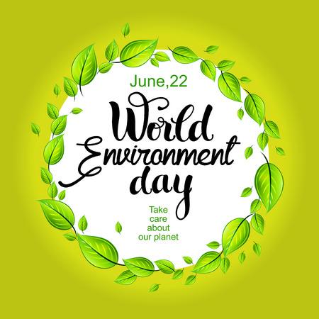 Wereld Milieu dag kaart met decoratieve belettering Vector Illustratie