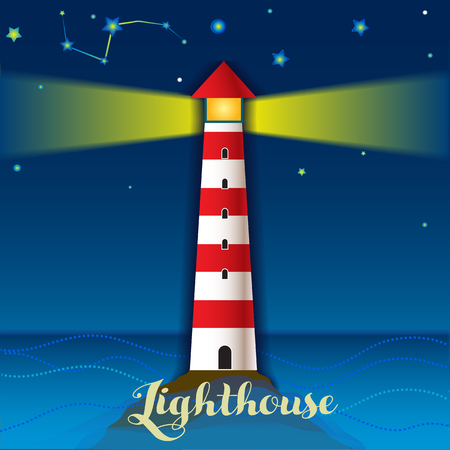 lighthouse at night: Illustration with lighthouse and night sea landscape Illustration