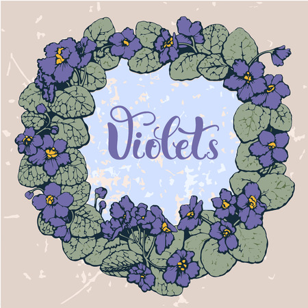 violet flowers: Round frame made with violet flowers Illustration