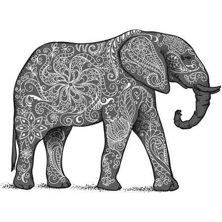 La silhouette di elefante raccolti da elementi disegnati a mano di un fiore ornamento.